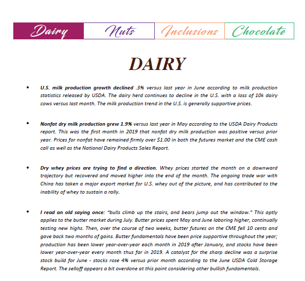 Monthly NAFTA Commodities Report Dairy